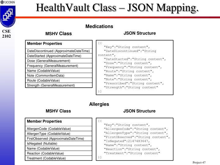 HealthVault Class – JSON Mapping.