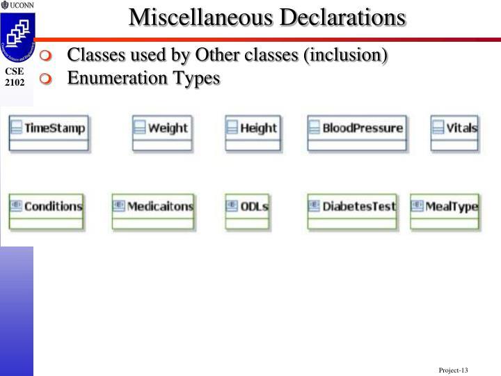Miscellaneous Declarations