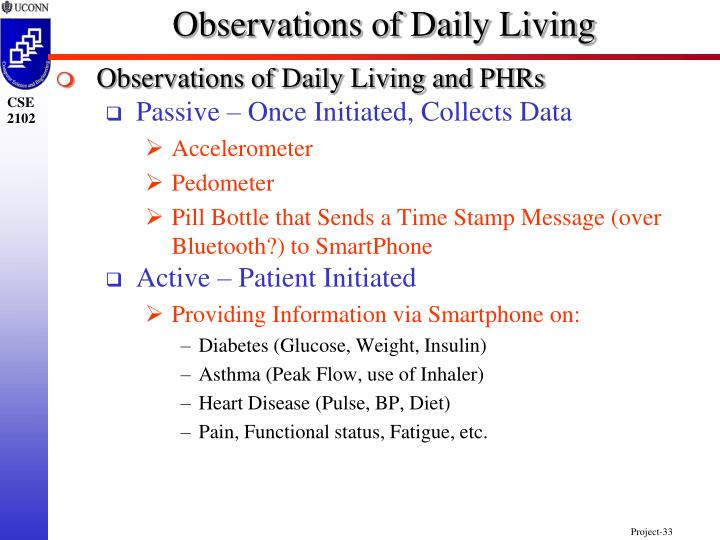 Observations of Daily Living