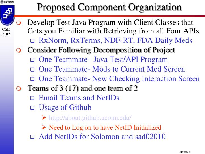 Proposed Component Organization
