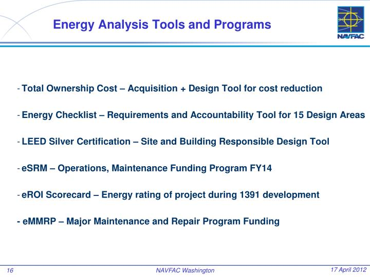 Energy Analysis Tools and Programs