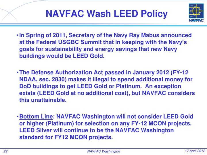 NAVFAC Wash LEED Policy