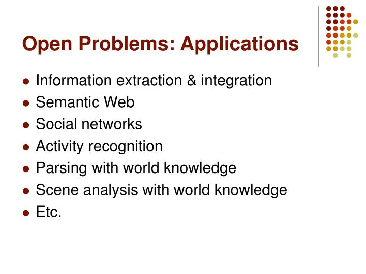 Open Problems: Applications
