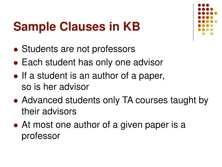 Sample Clauses in KB