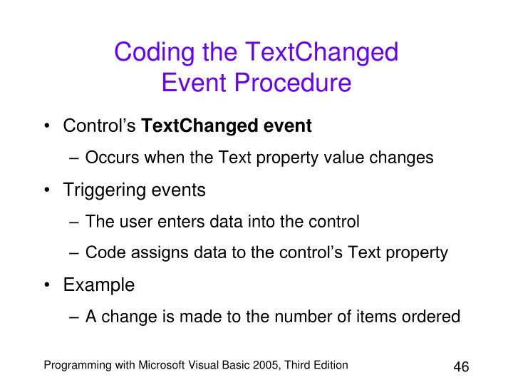 Coding the TextChanged
