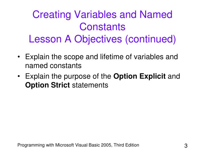Creating Variables and Named Constants
