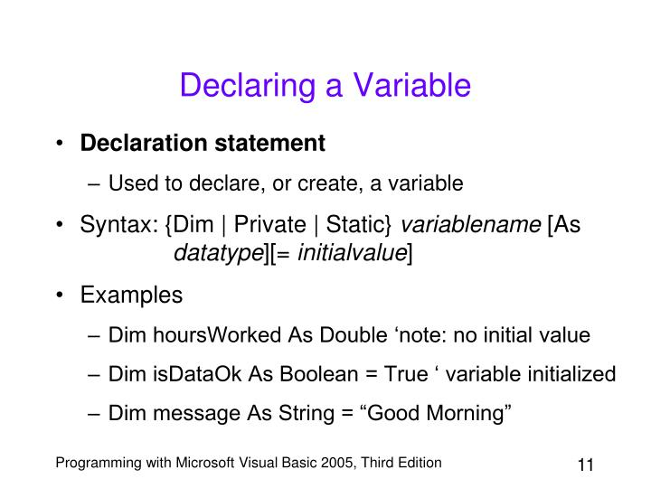 Declaring a Variable