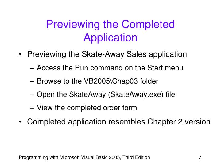 Previewing the Completed Application