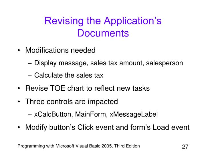 Revising the Application's Documents