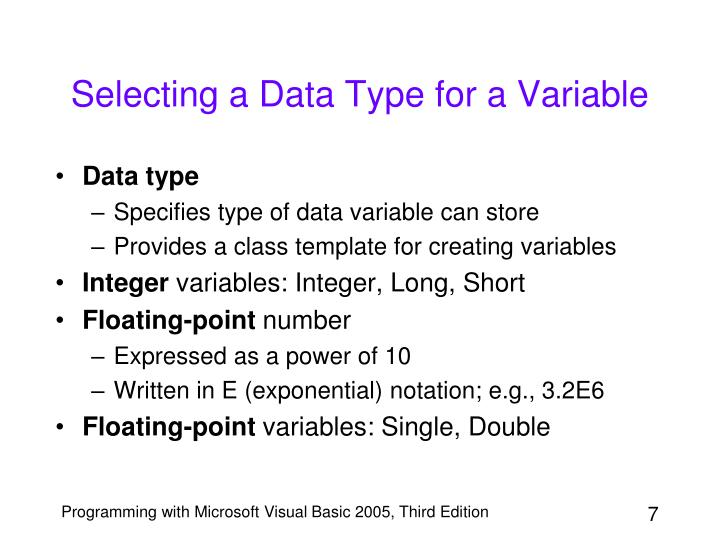 Selecting a Data Type for a Variable