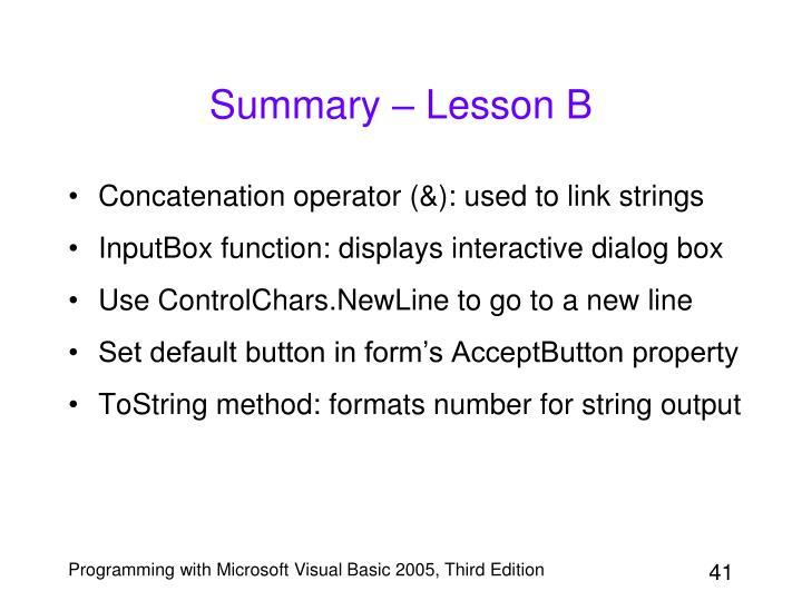 Summary – Lesson B