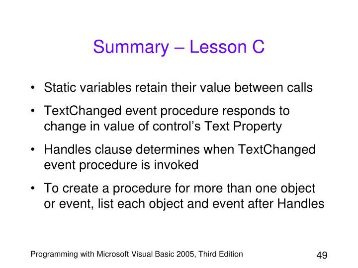 Summary – Lesson C