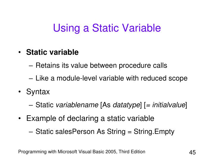 Using a Static Variable