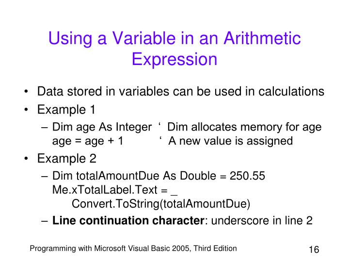 Using a Variable in an Arithmetic Expression