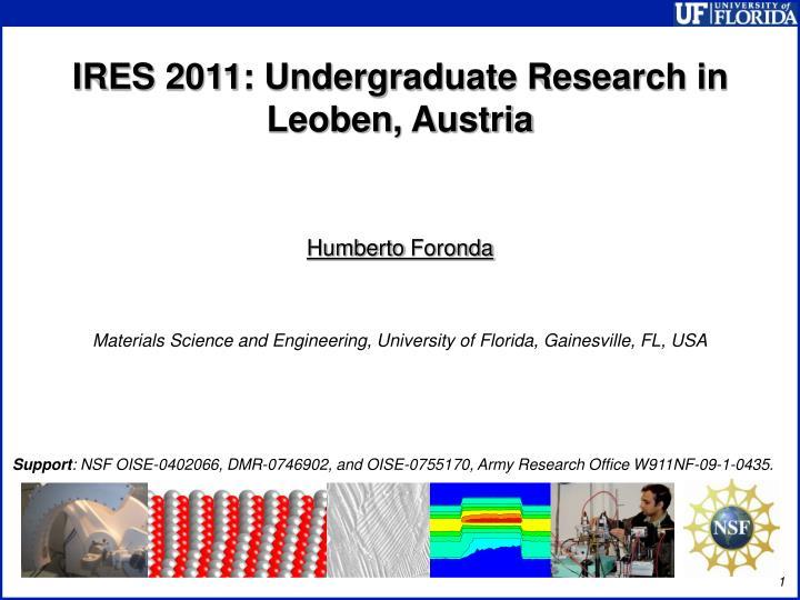 IRES 2011: Undergraduate Research in