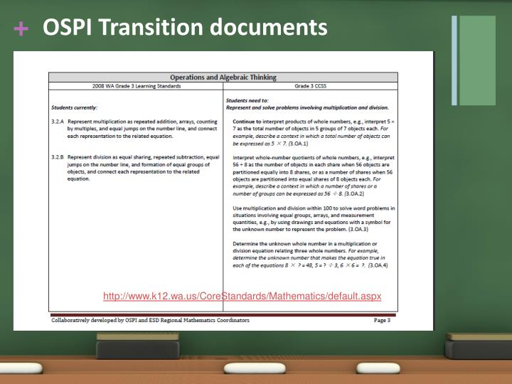 OSPI Transition documents