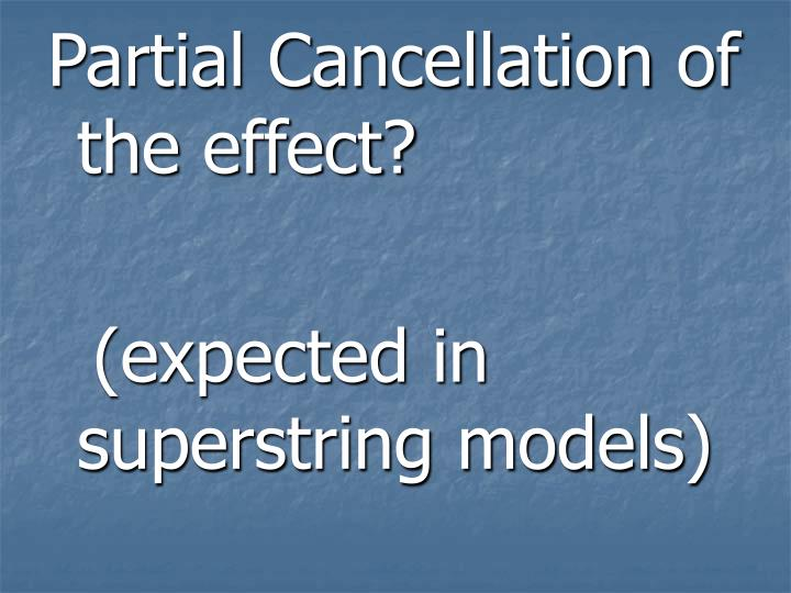 Partial Cancellation of the effect?