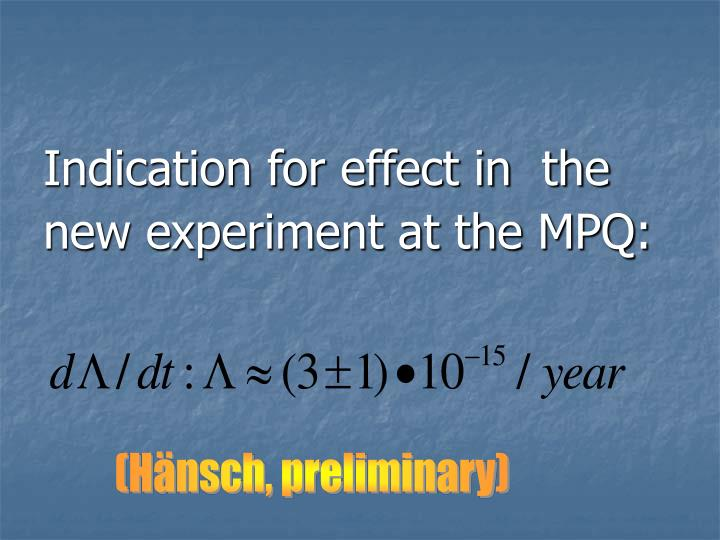 Indication for effect in  the