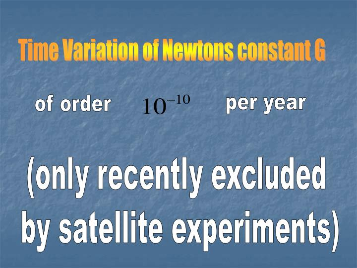 Time Variation of Newtons constant G