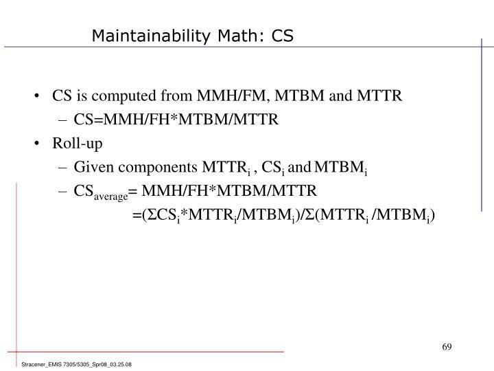 Maintainability Math: CS
