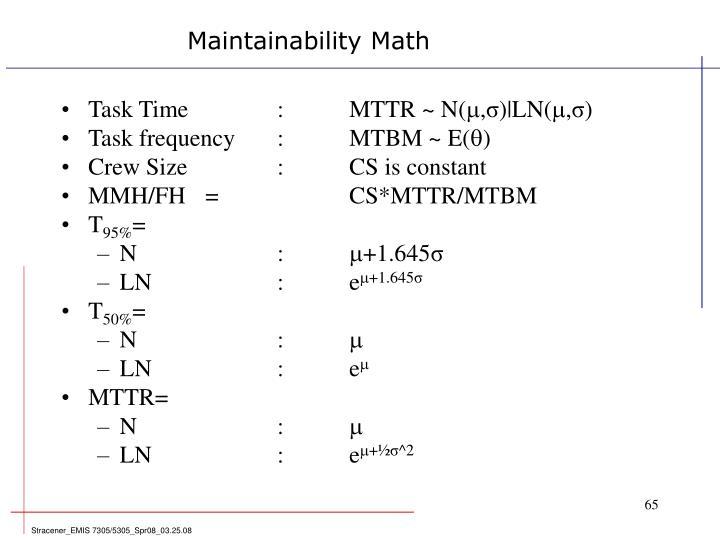 Maintainability Math