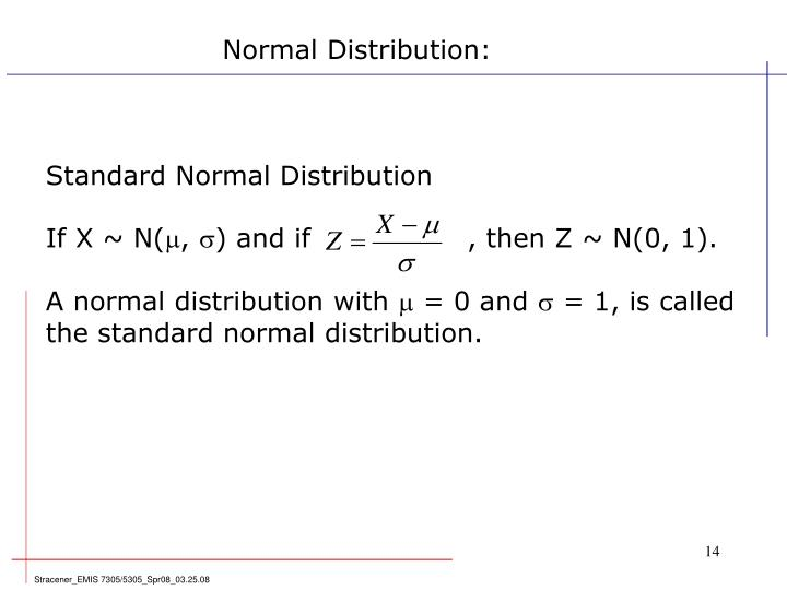 Normal Distribution: