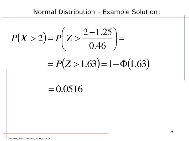 Normal Distribution - Example Solution: