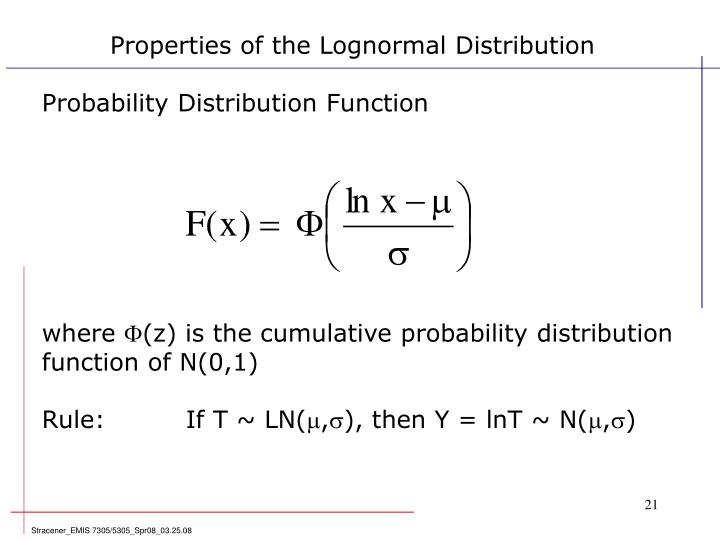 Properties of the Lognormal Distribution