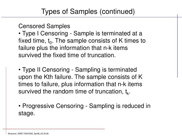 Types of Samples (continued)
