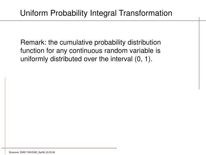 Uniform Probability Integral Transformation