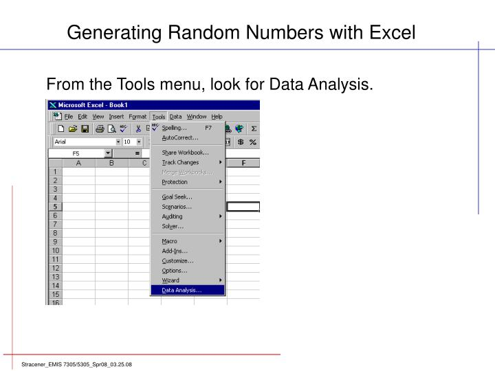 Generating Random Numbers with Excel