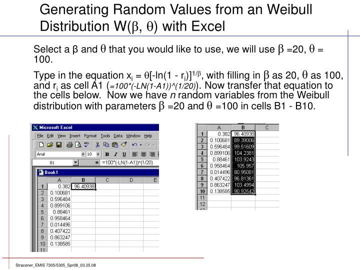 Generating Random Values from an Weibull