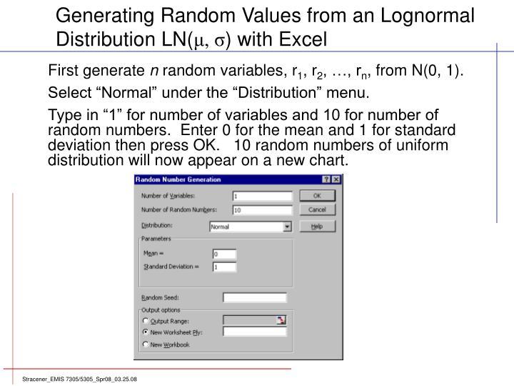Generating Random Values from an Lognormal