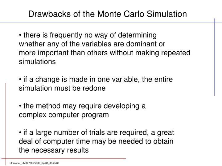 Drawbacks of the Monte Carlo Simulation