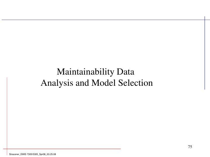 Maintainability Data