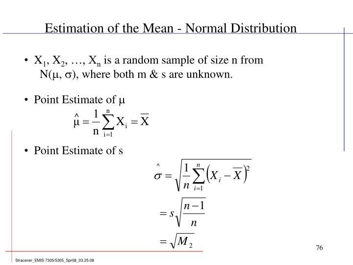 Estimation of the Mean - Normal Distribution