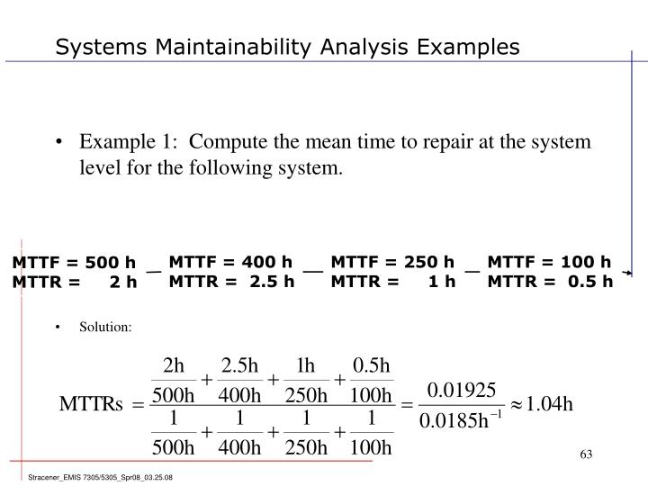 Systems Maintainability Analysis Examples