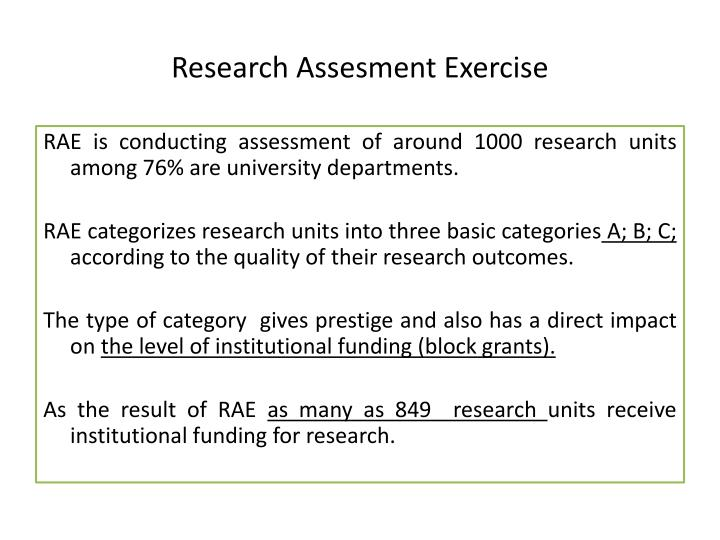 Research Assesment Exercise