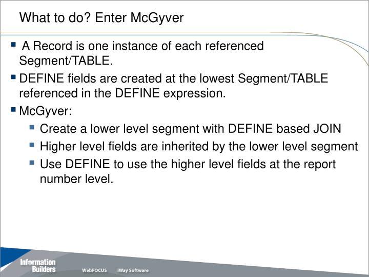 What to do? Enter McGyver
