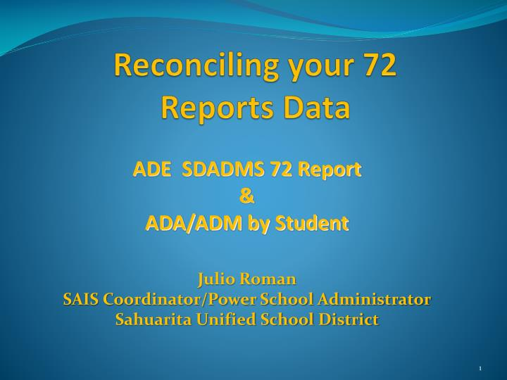 Reconciling your 72