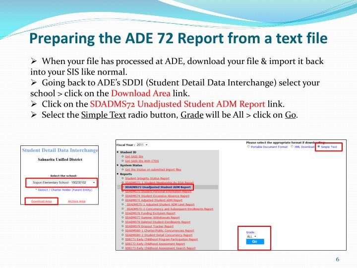 Preparing the ADE 72 Report from a text file