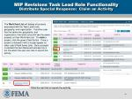 mip revisions task lead role functionality distribute special response claim an activity