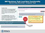 mip revisions task lead role functionality review data received complete task