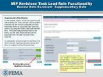 mip revisions task lead role functionality review data received supplementary data
