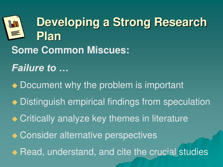 Developing a Strong Research Plan