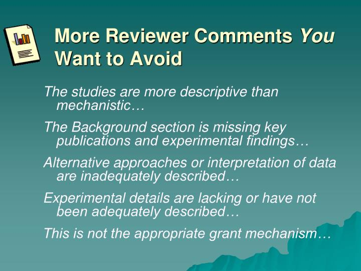 More Reviewer Comments