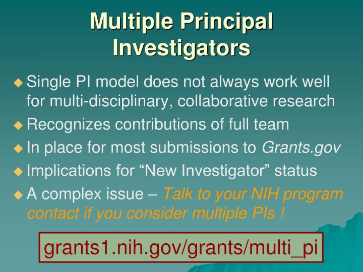 Multiple Principal Investigators