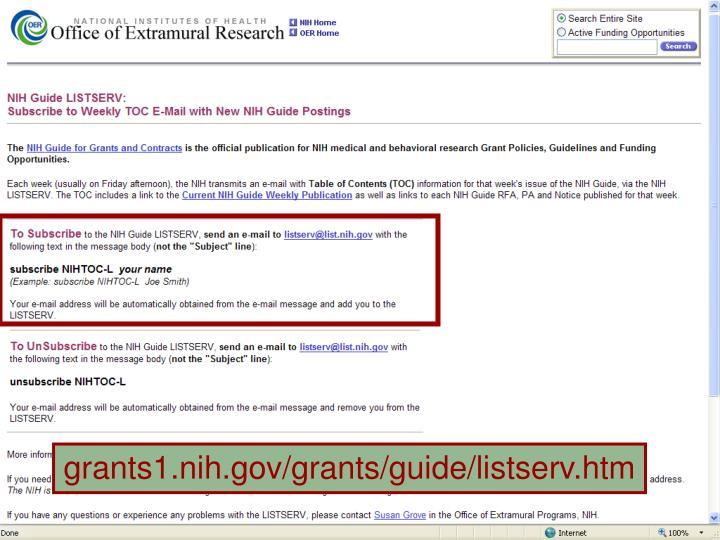 grants1.nih.gov/grants/guide/listserv.htm