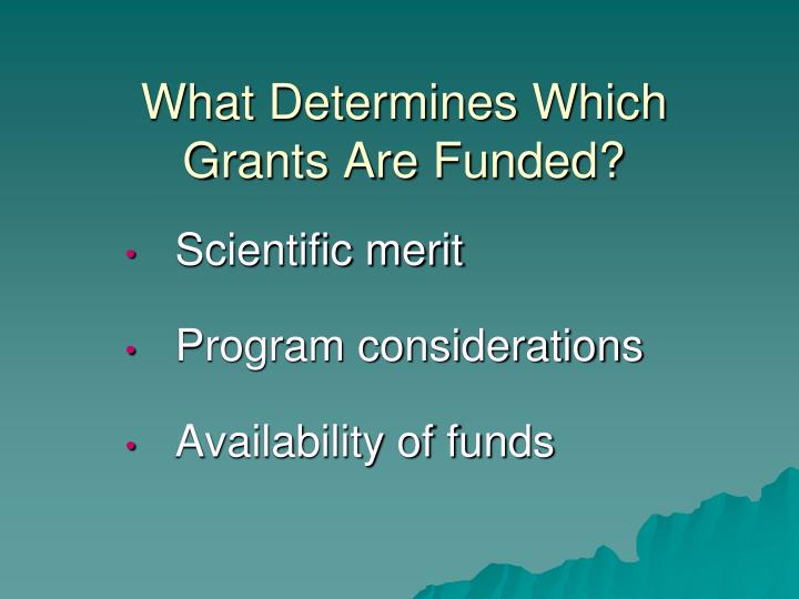 What Determines Which Grants Are Funded?