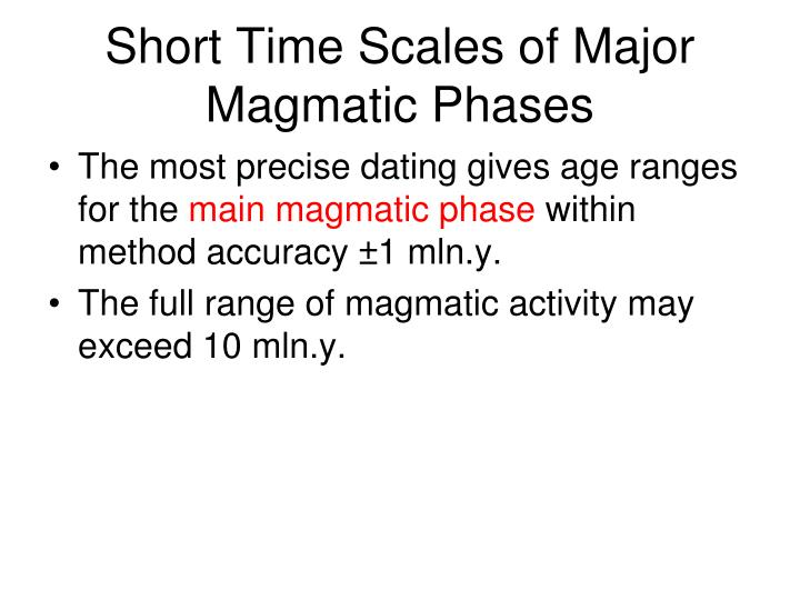 Short Time Scales of Major Magmatic Phases